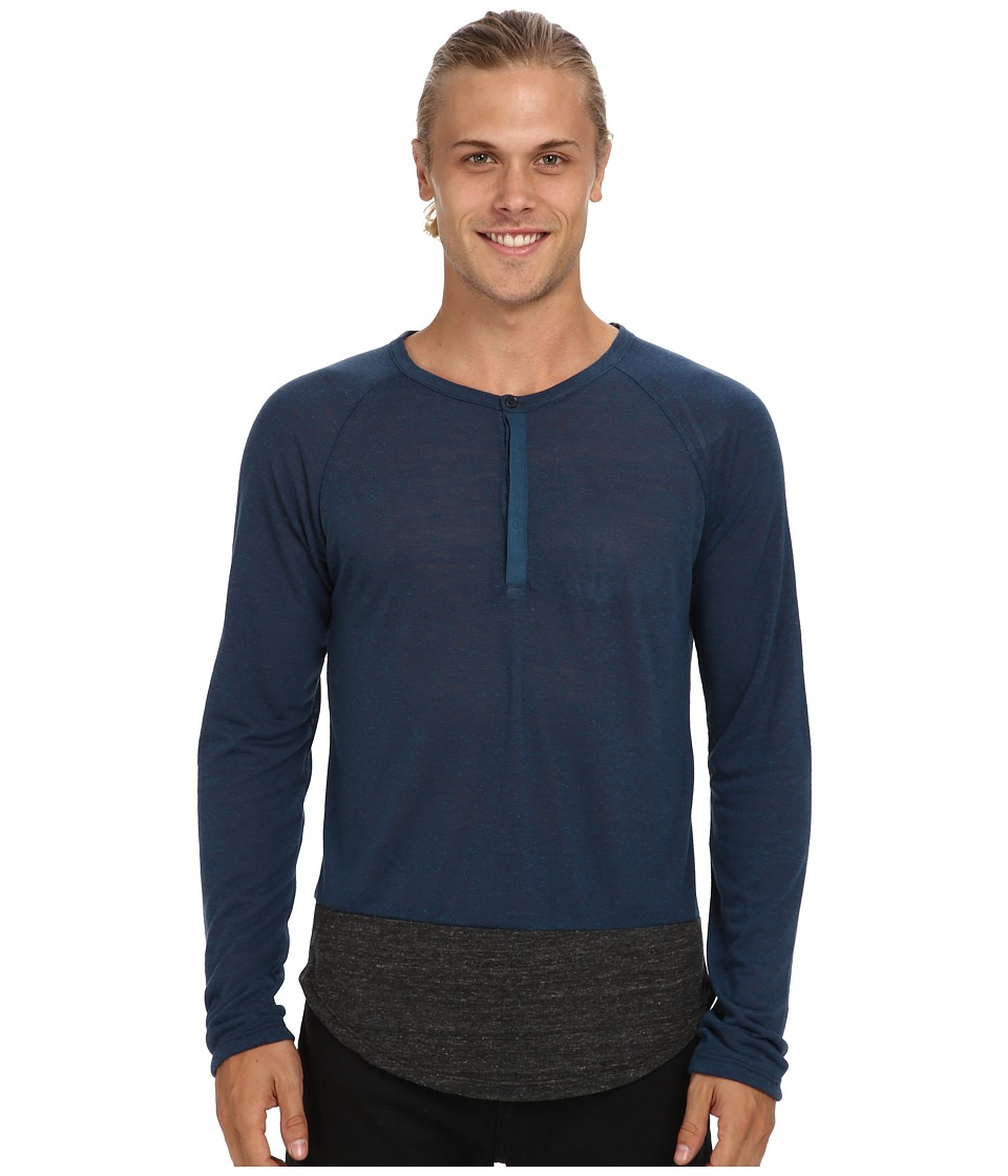 Alternative - Shirttail Henley L/S (Eco Splash Midnight/Eco Black) Men's Long Sleeve Pullover