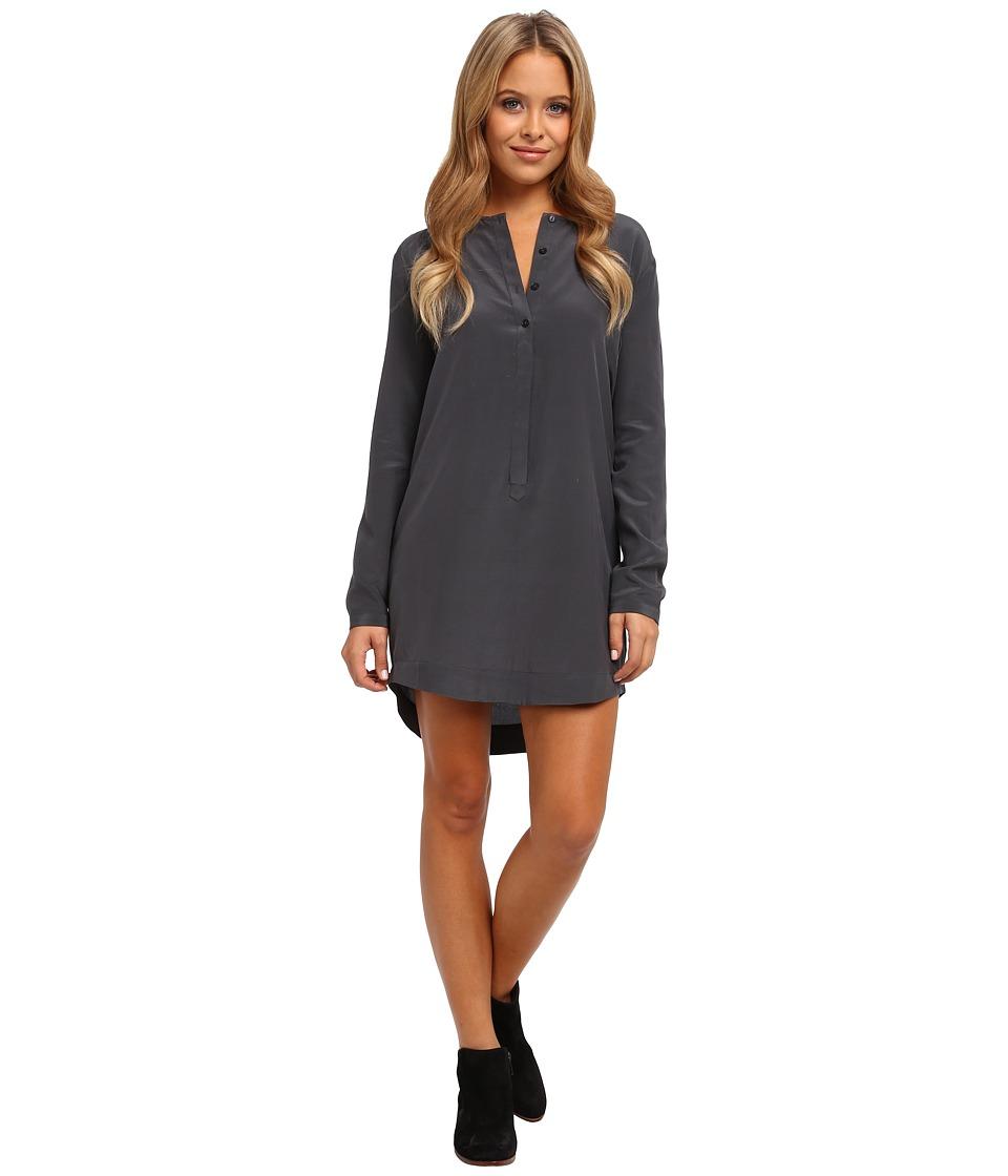 Alternative - L/S Silk Crepe Henley Dress (Ebony) Women
