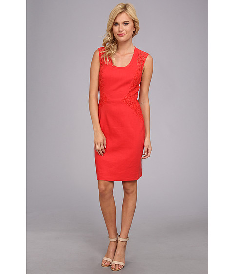 Nicole Miller - Dorian Stretch Linen Dress (Coral Pink) Women's Dress