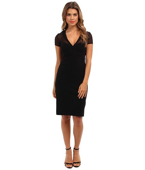 Nicole Miller - Jada Structured V-Neckline Dress (Black) Women