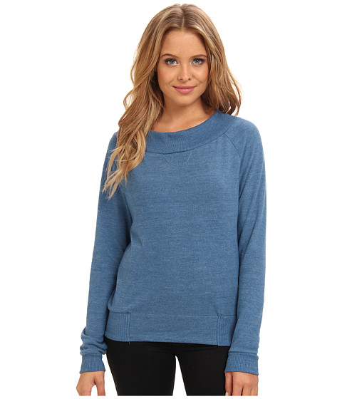 Alternative - L/S Eco Brushed Jersey Raglan (Eco True Steel Blue) Women's Sweater