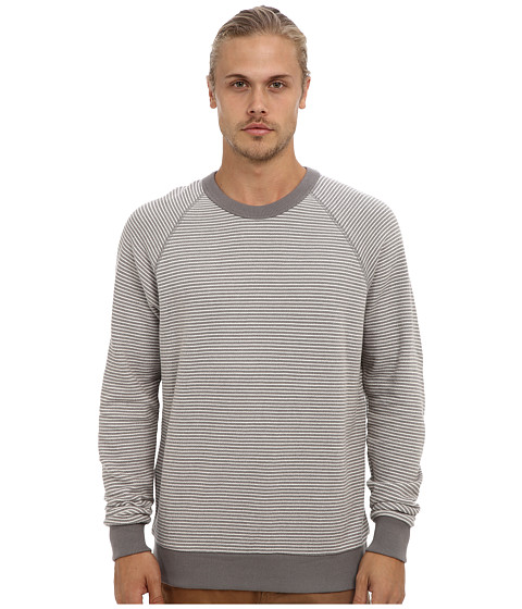Alternative - Organic Stripe French Terry Crew Neck (Nickel Marine Stripe) Men