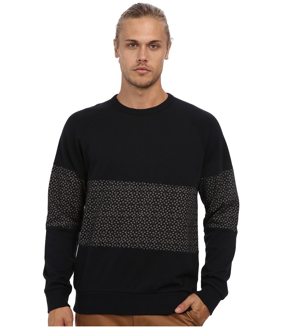 Alternative - Light French Terry Crew Neck Panel (True Black/True Black Hexagon Dot) Men's T Shirt