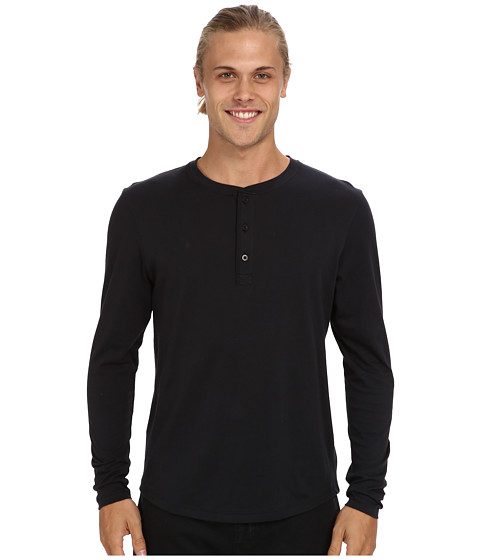 Alternative - Pima Henley L/S (Black) Men's Long Sleeve Pullover