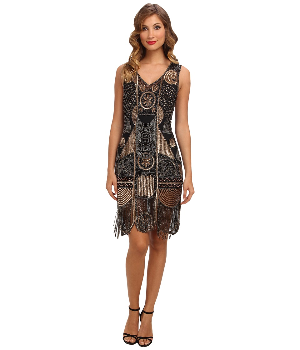 Unique Vintage - 1920's The Bosley Beaded Flapper with Beaded Fringe Dress (Black/Gold) Women's Dress