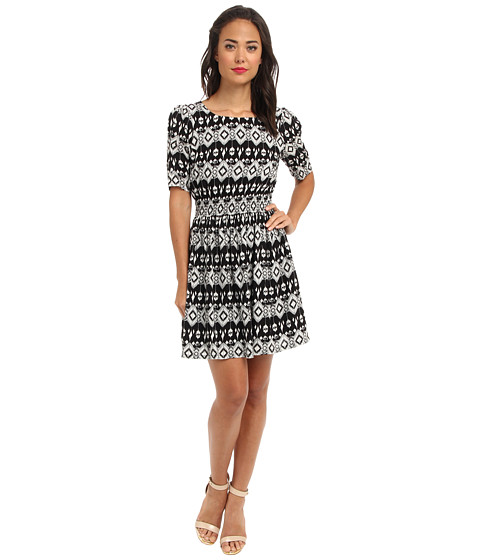 Yumi - Aztec Sheer Waist Dress (Black) Women