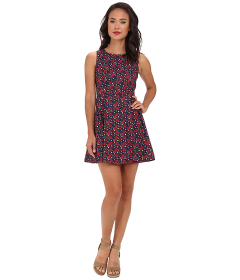 Yumi - Printed Floral Dress (Blue) Women's Dress