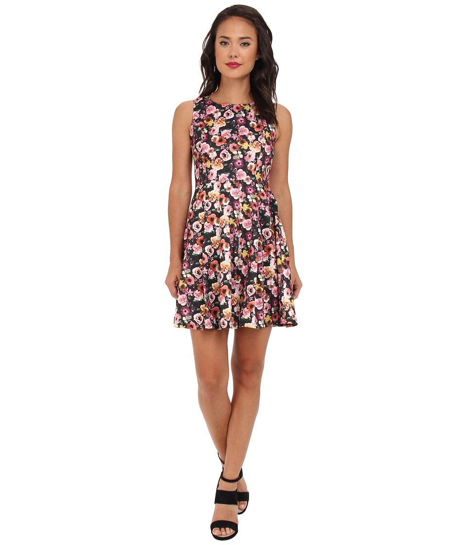 Yumi - Rose Print Dress (Black) Women