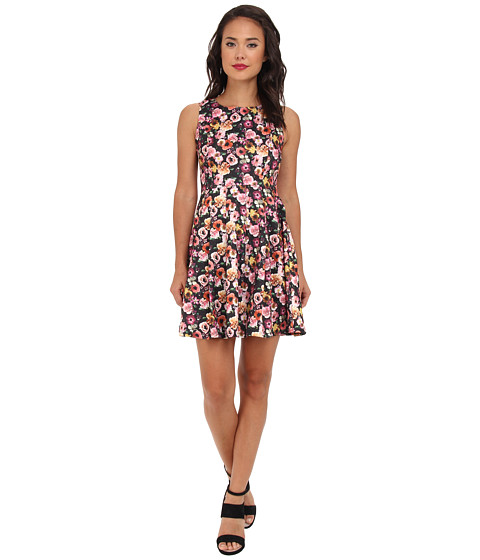 Yumi - Rose Print Dress (Black) Women's Dress