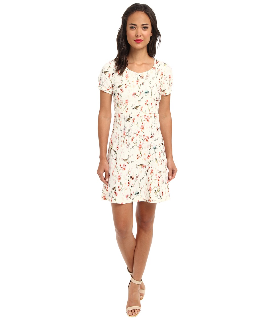 Yumi - Printed Bird Dress (Cream) Women's Dress