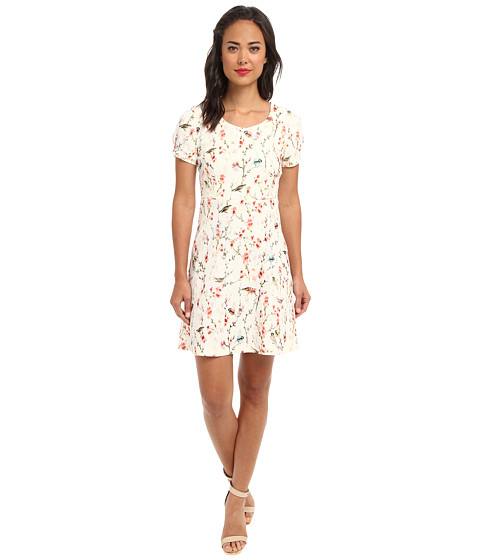 Yumi - Printed Bird Dress (Cream) Women