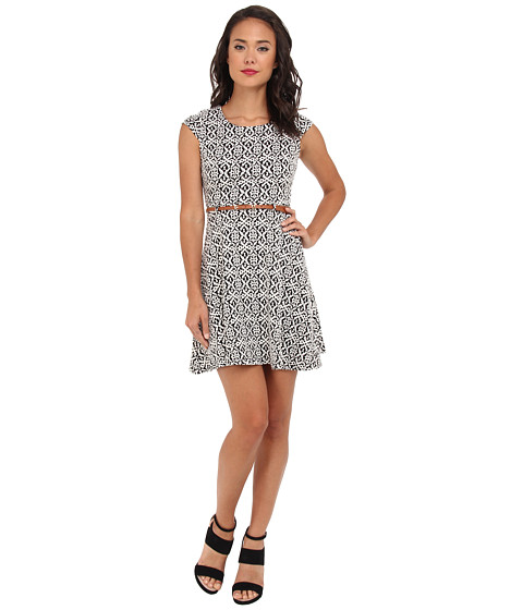 Yumi - Jacquard Aztec Dress (Black) Women's Dress