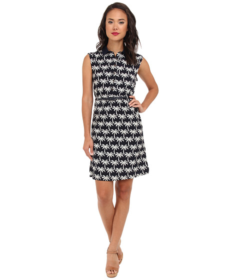 Yumi - Printed Palm Tree Dress (Navy) Women's Dress