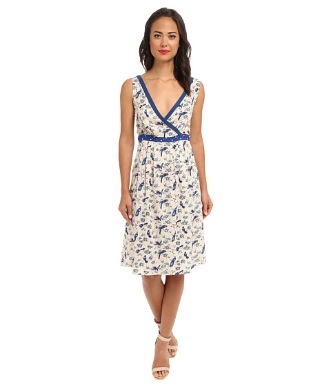 Yumi - Printed Dress With Embellished Waist Band (Blue) Women