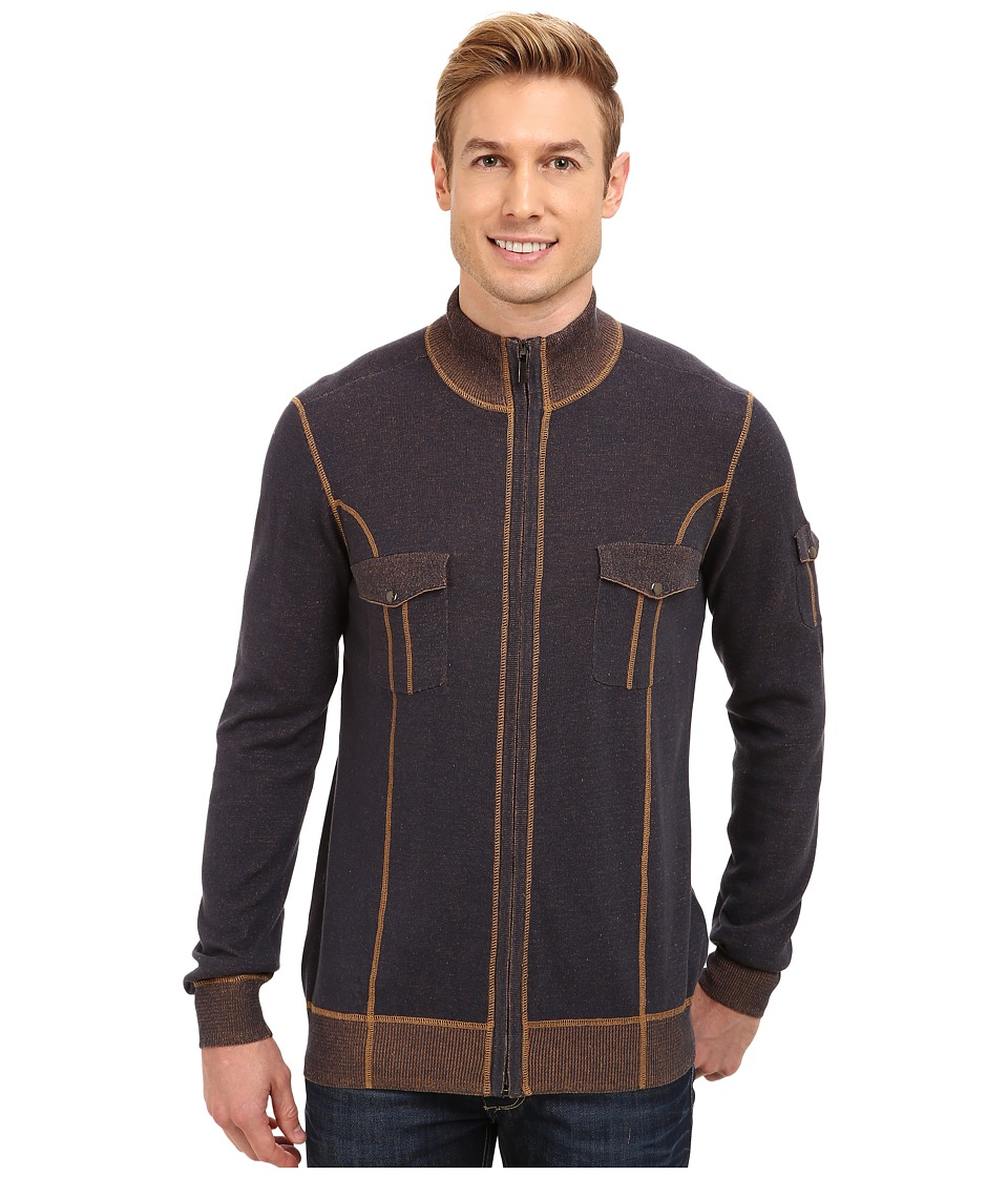 Ecoths - Brady Full Zip Sweater (Mood Indigo) Men