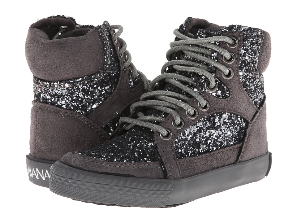 Amiana 15-A5289 (Toddler/Little Kid/Big Kid/Adult) (Grey Suede Fabric/Silver Chunky Glitter) Girl