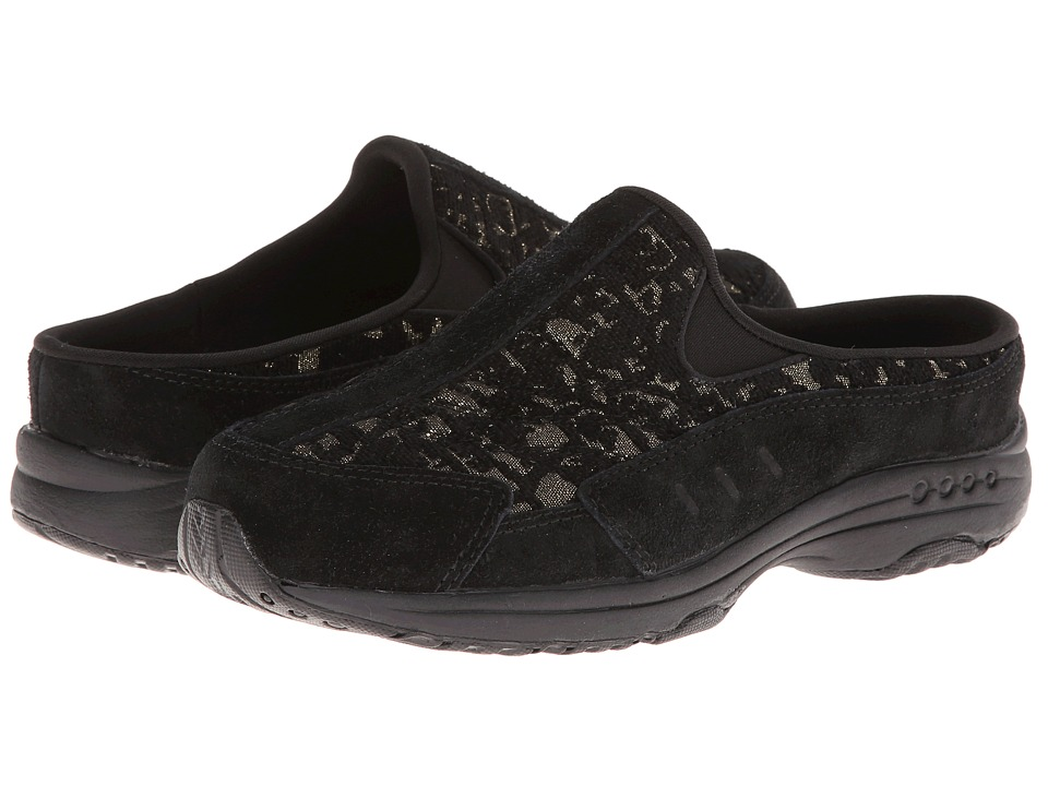 Easy Spirit - Traveltime48 (Black/Gold Multi Suede) Women's Shoes