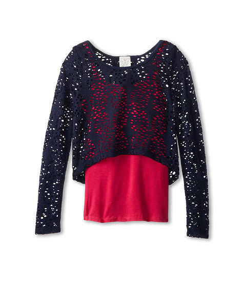 Ella Moss Girl - Amelia Laser Cut Top And Cmai (Big Kids) (Navy) Girl's Blouse