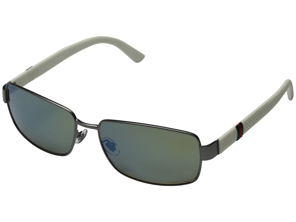 Gucci - GG 2249/F/S (Sem Matte Dark Ruthenium/Khaki Mirror Blue) Fashion Sunglasses