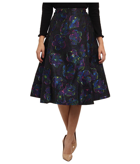 Kate Spade New York - Floral Clip Dot A Line Skirt (Multi) Women
