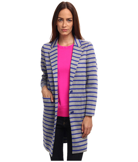 Kate Spade New York - Oversize Scuba Stripe Coat (Grey Melange/Emperor Blue) Women