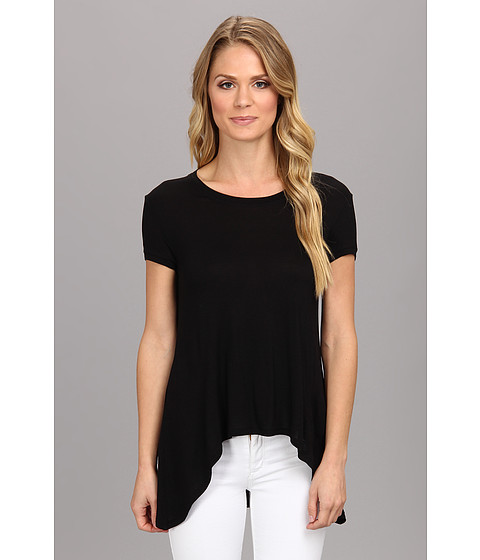 BCBGMAXAZRIA - Mya T-Shirt With Draped Open Back (Black) Women's Short Sleeve Pullover