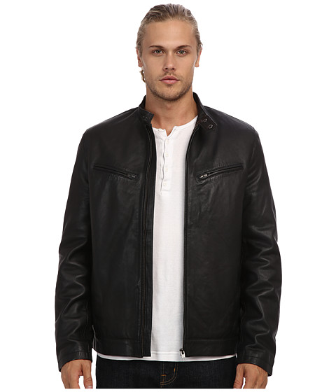 French Connection - Existential Lamb Leather Jacket (Black) Men's Jacket