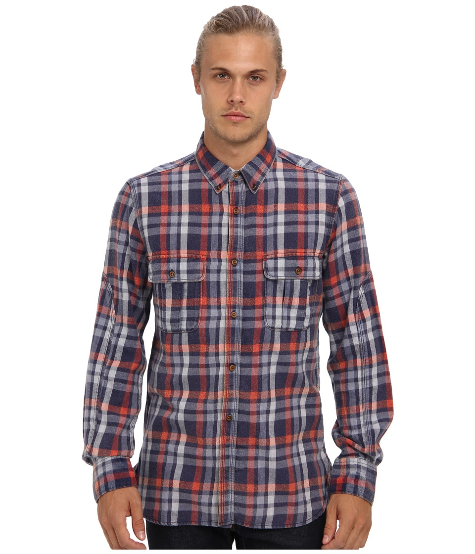 French Connection - Bleached Checks (Ribbon Red) Men's Long Sleeve Button Up