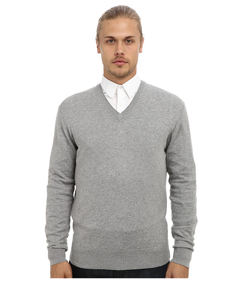 French Connection - Portrait Plain V-Neck (Grey Melange) Men