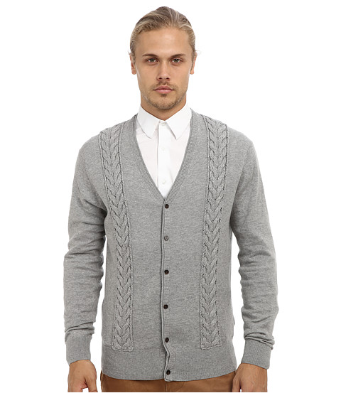 French Connection - Portrait Plain Cardigan (Grey Melange) Men