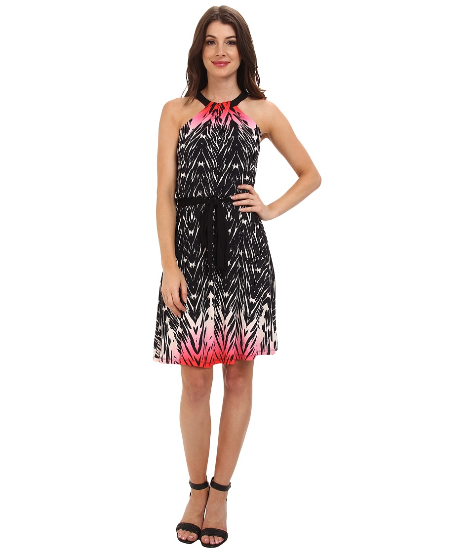 Maggy London - Printed Jersey Halter w/ Self Belt And Flare Skirt (Black/Hot Pink) Women's Dress