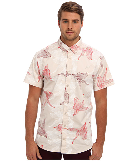 Publish - Eden Digi Floral S/S Woven (Tan) Men's Short Sleeve Button Up