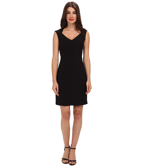 Donna Morgan - V-Neck Multi Directional Body Con Dress (Black) Women