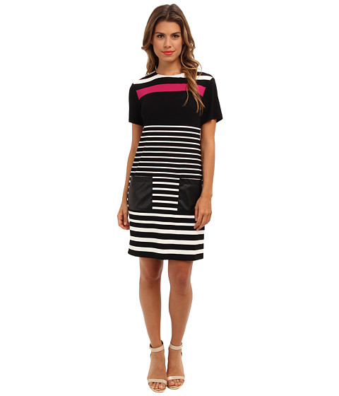 Donna Morgan - Short Sleeve Striped A-Line Dress with Leather Detail (Black/Ivory) Women's Dress