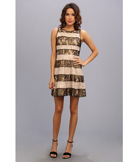 Jessica Simpson - Pieced Lace Circle Skirt Dress With Rib Knit Back (Black/Gold) Women's Dress