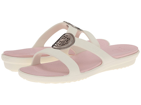 Crocs - Sanrah Circle Embellishment Sandal (Oyster/Pearl Pink) Women's Shoes