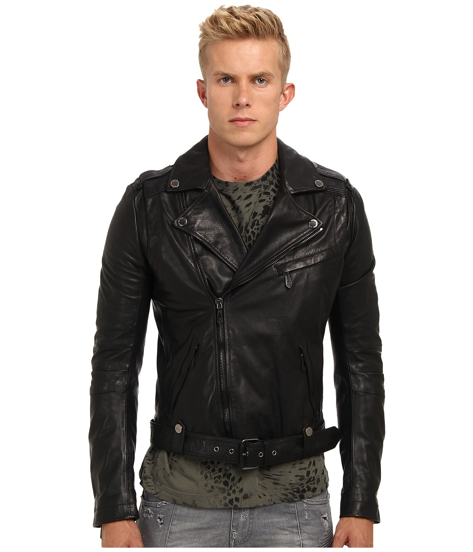 Pierre Balmain - Leather Biker Jacket (Black) Men's Jacket