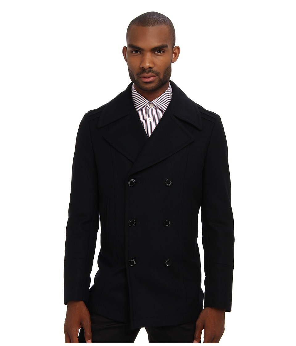 Pierre Balmain - Double Breasted Coat (Dark Blue) Men's Coat