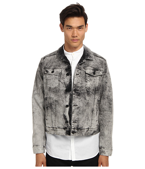 Pierre Balmain - Moto Denim Jacket (Light Grey) Men's Coat