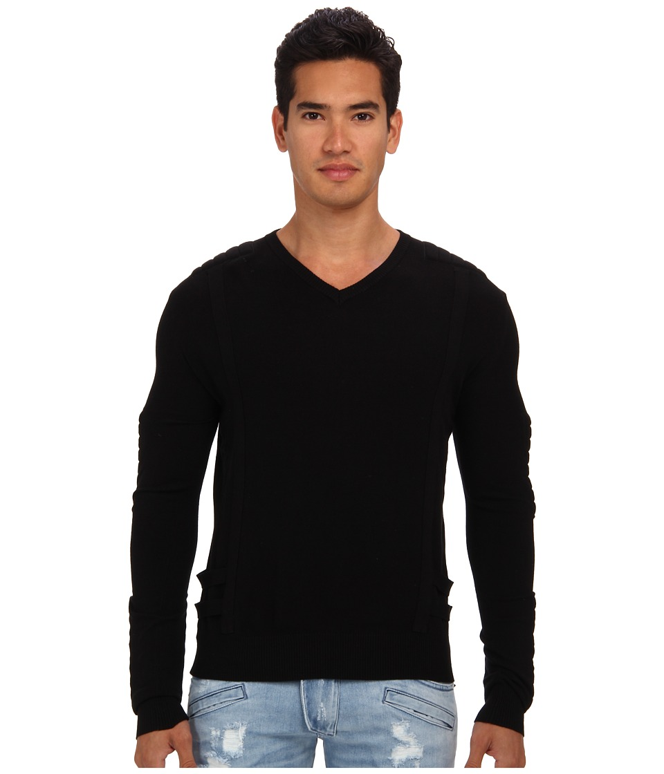 Pierre Balmain - Motor Panel V-Neck Sweater (Black) Men's Sweater