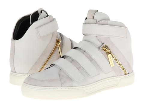 Pierre Balmain - Velcro and Zipper Hi-Top Sneaker (White) Men's Shoes