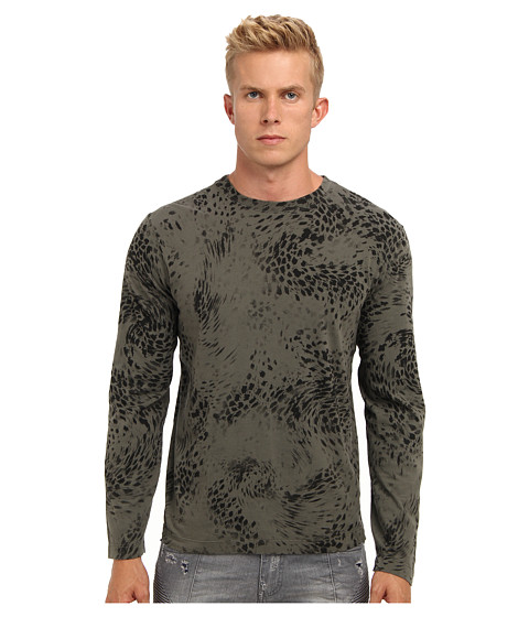 Pierre Balmain - L/S Animal Print Tee (Military Green) Men's T Shirt