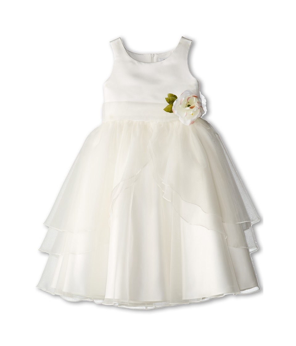 Us Angels - Tank Top Dress w/ Layers of Organza Skirt (Big Kids) (Ivory/Ivory) Girl's Dress