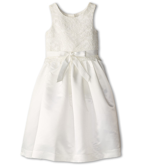 Us Angels - Lace Overlay With Satin Skirt Dress (Big Kids) (Ivory) Girl