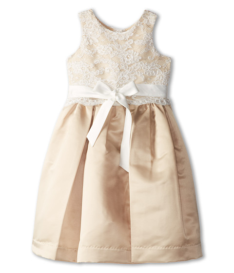 Us Angels - Lace Overlay With Satin Skirt Dress (Little Kids) (Champagne) Girl