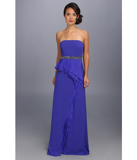 Badgley Mischka - Strapless Tiered Gown (Ultra Violet) Women