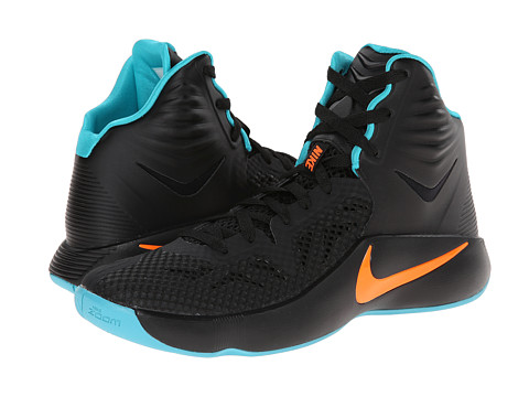Nike - Zoom Hyperfuse 2014 (Dark Magnet Grey/Magnet Grey/Hyper Turquoise/Total Orange) Men's Basketball Shoes