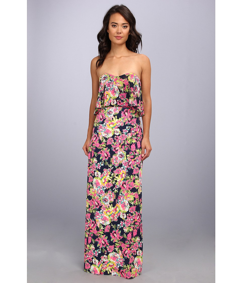 Badgley Mischka - Printed Floral Maxi Dress (Navy) Women's Dress
