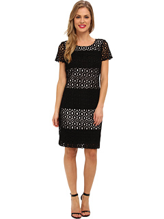 SALE! $87.99 - Save $80 on Muse Short Sleeve Lace Dress (Black White) Apparel - 47.63% OFF $168.00