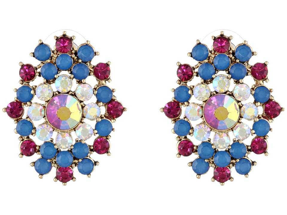 Betsey Johnson - The Eyes Have It! Pink Blue Cluster Button Earrings (Multi) Earring